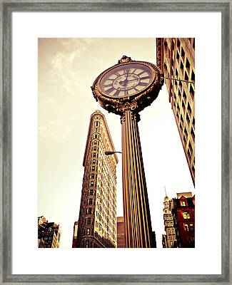 Flatiron Building And 5th Avenue Clock Framed Print by Vivienne Gucwa