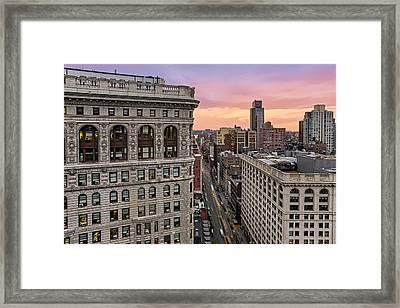 Flatiron Building At Sunset Framed Print