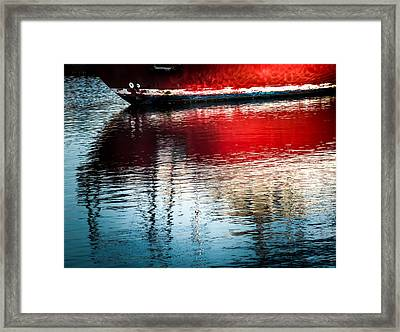 Red Boat Serenity Framed Print by Karen Wiles