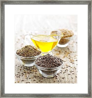 Flax Seed And Linseed Oil Framed Print by Elena Elisseeva