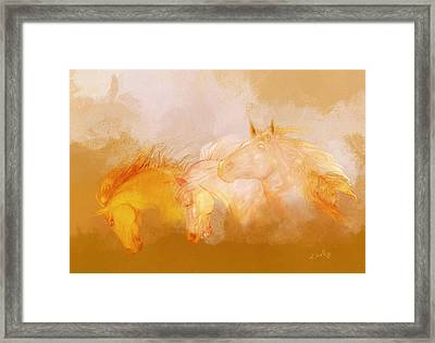 Framed Print featuring the painting Flaxen Manes by Valerie Anne Kelly