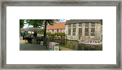 Flea Market At A Canal, Dijver Canal Framed Print by Panoramic Images