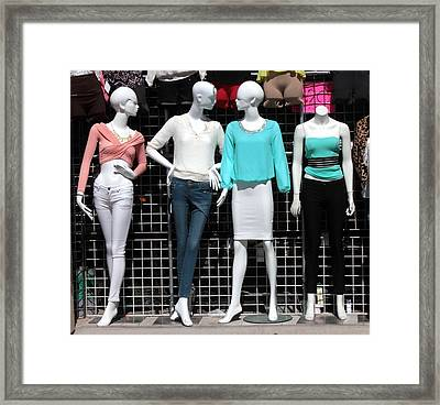Framed Print featuring the photograph Flea Market Fashionistas by Joe Kozlowski