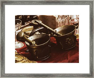 Flea Market Series - Mortar And Pestle Framed Print by Marco Oliveira
