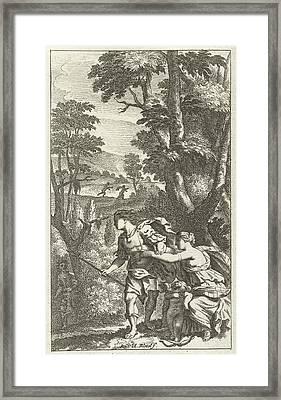 Fleeing Shepherd, Print Maker Abraham Bloteling Framed Print