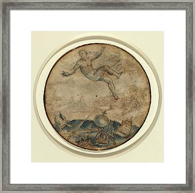 Flemish 17th Century, Man Falling From The Sky Framed Print