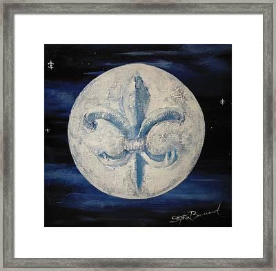 Fleur De Lies Moon Framed Print by Stephen Broussard