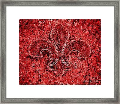 Fleur De Lis Red Ice Framed Print by Janine Riley