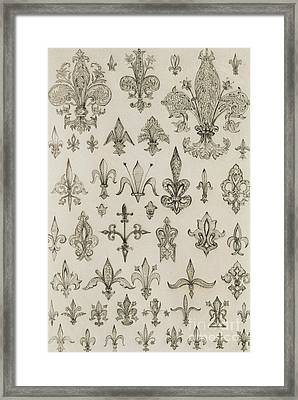 Fleur De Lys Designs From Every Age And From All Around The World Framed Print by Jean Francois Albanis de Beaumont