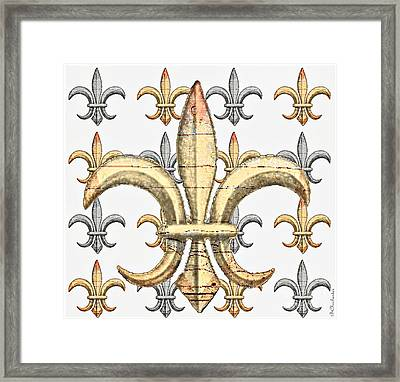 Fleur De Lys Silver And Gold Framed Print