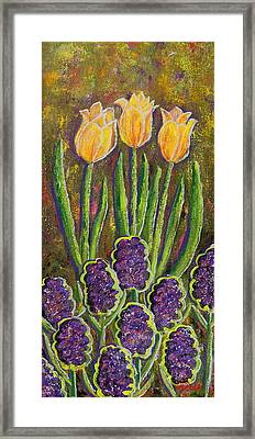 Fleurs D' Tulips And Hyacinths Framed Print