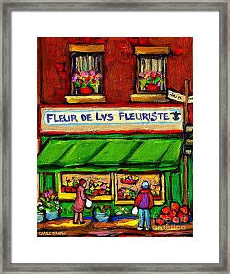 Fleurs De Lys Fleuriste Depanneur Fruits And Legumes Shops And Stores Carole Spandau Montreal Scenes Framed Print by Carole Spandau