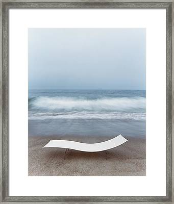 Flexy Batyline Mesh Curve Chaise On Malibu Beach Framed Print by Simon Watson