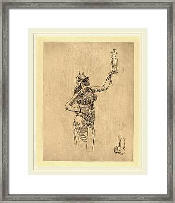 Félicien Rops Belgian, 1833-1898, The Falconer La Framed Print by Litz Collection