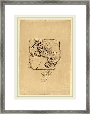 Félicien Rops Belgian, 1833-1898, The Sparrow Of Lesbie Le Framed Print by Litz Collection