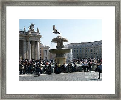 Framed Print featuring the photograph Flight And Fountain by Robin Maria Pedrero