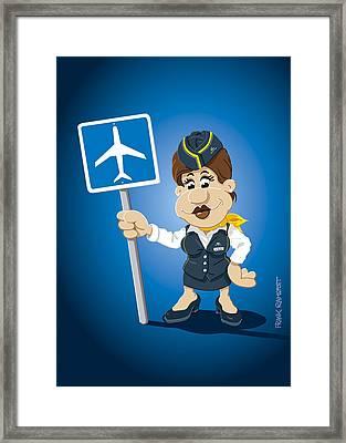Flight Attendant Cartoon Woman Airport Sign Framed Print by Frank Ramspott