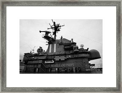 Flight Deck Island And Bridges Of The Uss Intrepid At The Intrepid Sea Air Space Museum  Framed Print