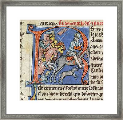 Flight Of The Sultan Of Damascus Framed Print by British Library