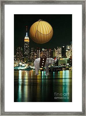 Flight Over The New York Skyline On A Hot Air Balloon Framed Print