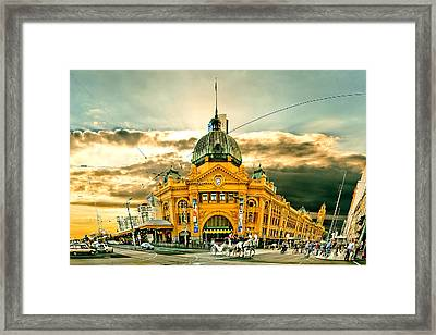 Flinders St Station Framed Print by Az Jackson