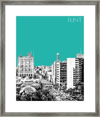 Flint Michigan Skyline - Teal Framed Print by DB Artist