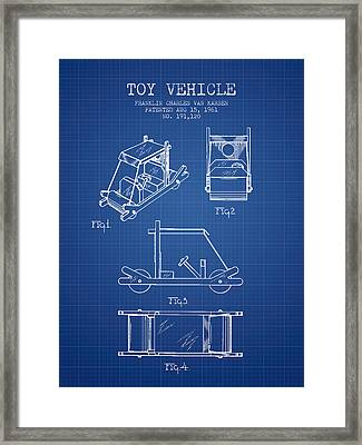 Flintstones Toy Vehicle Patent From 1961 - Blueprint Framed Print by Aged Pixel