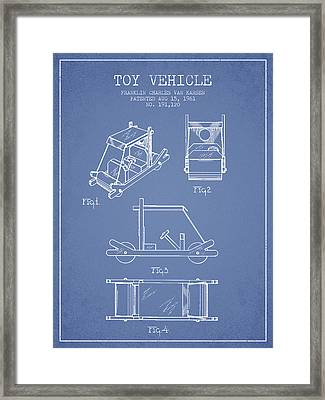 Flintstones Toy Vehicle Patent From 1961 - Light Blue Framed Print by Aged Pixel