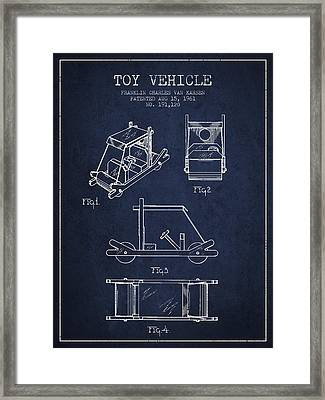 Flintstones Toy Vehicle Patent From 1961 - Navy Blue Framed Print by Aged Pixel