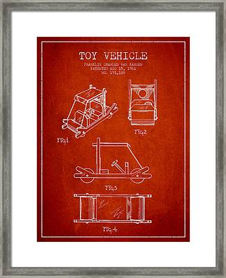 Flintstones Toy Vehicle Patent From 1961 - Red Framed Print by Aged Pixel
