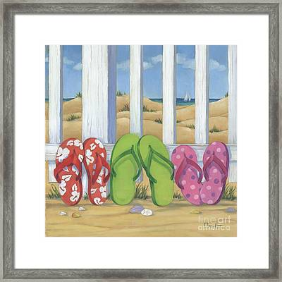 Flip Flop Beach Square Framed Print by Paul Brent