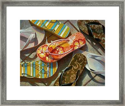 Framed Print featuring the painting Flip Flops by Mia Tavonatti