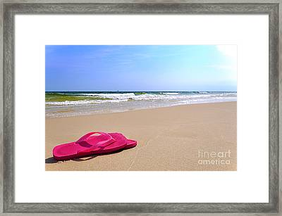 Flip Flops On Beach Framed Print