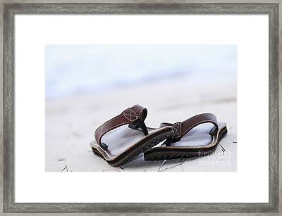 Flip-flops On Beach Framed Print