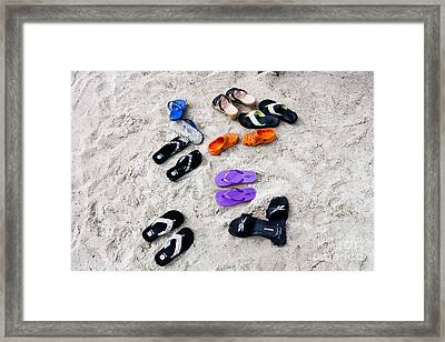 Flip Flops On The Beach Framed Print