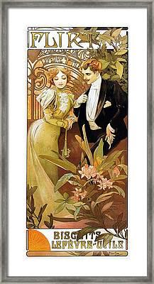 Flirt Framed Print by Alphonse Mucha