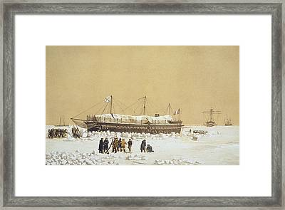 Floating Battery La Tonnante In The Ice Framed Print by A. & Morel-Fatio, A. Bayot