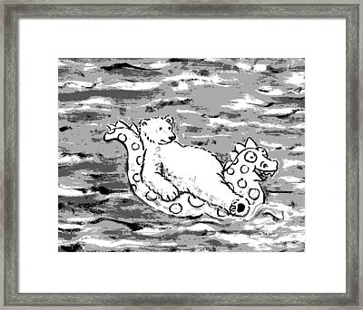 Floating Bear Grisaille Framed Print by Holly Wood