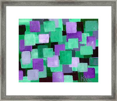 Floating Green And Purple Squares Framed Print by Art by Kar