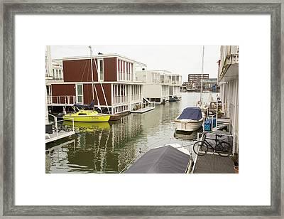 Floating House In Amsterdam Framed Print