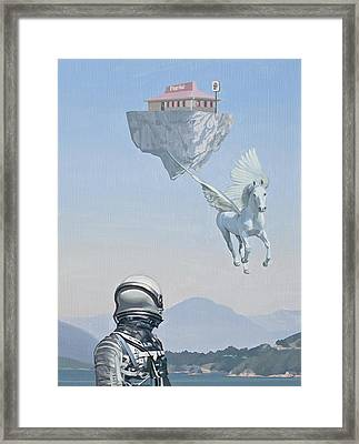 Framed Print featuring the painting Floating Island Pizza Hut by Scott Listfield
