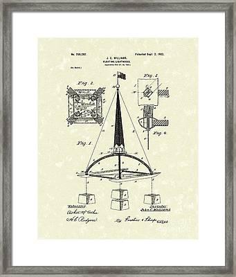 Floating Lighthouse 1902 Patent Art Framed Print by Prior Art Design
