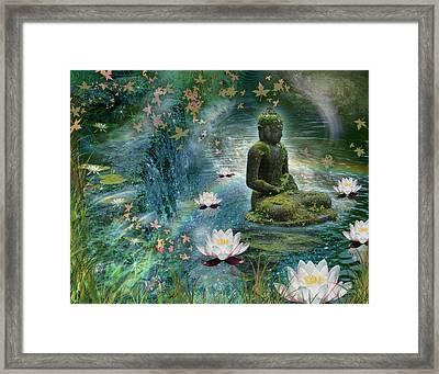 Floating Lotus Buddha Framed Print