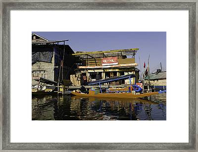 Floating Shop Along With Another Shop On Floats In The Dal Lake Framed Print