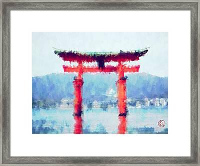 Floating Torii Gate Of Japan Framed Print