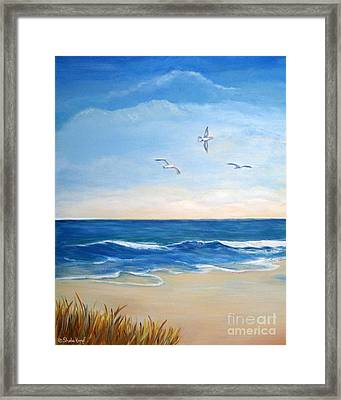 Flock Of Three - Three Birds On The Beach Framed Print