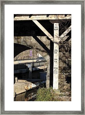 Flood Height Sign At Ellicott City Maryland Framed Print