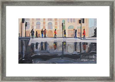 Flood In The Cithy Framed Print