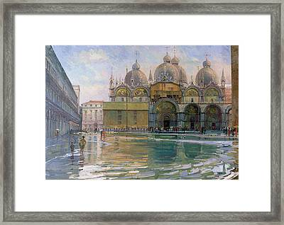 Flood Tide, Venice, 1992 Oil On Canvas Framed Print
