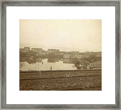 Flooded Buildings During The Flooding Of Paris Framed Print